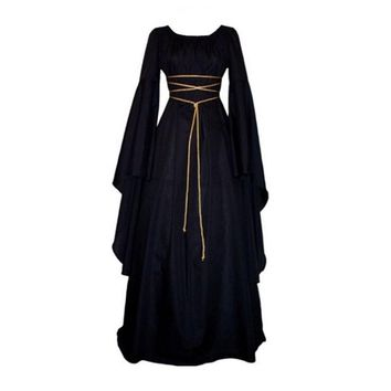 Women's Autumn Dress Medieval Vintage Victorian Renaissance Gothic Costume Ball Gown Long Sleeve Floor-Length Dress