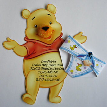Baby Boy Girl Shower Invitation, Winnie the Pooh Invitation, Diaper Invitation, Cartoon Baby Shower Invitation