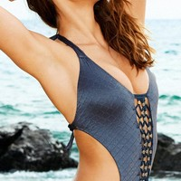 Beach Bunny 2015 Forget me Knot Navy Blue Monokini L15151P-NAVY