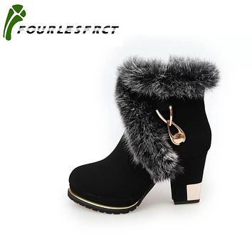 FOURLESFRCT - Fashion High Heel Ankle Boot With Faux Fur and Metallic Embellishments*