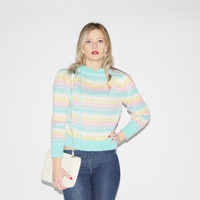 80s Pastel Cotton Candy Knit Sweater