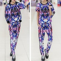 """Adidas"" Fashion Casual Multicolor Clover Letter Print Sweater Cardigan Set Three-Piec"