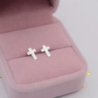 Simple cross 925 Sterling Silver earrings
