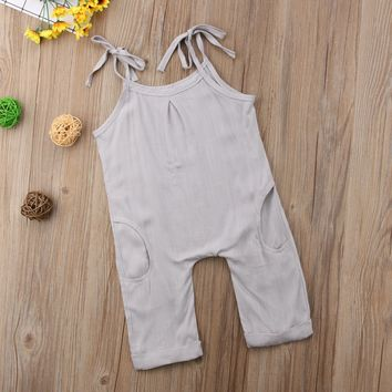 Toddler Infant Baby Girls Strap Plain Summer Pocket Sleeveless Romper Jumpsuit Clothes Outfits