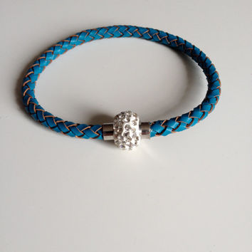 Blue Leather Bracelet with Magnet Clasp - Blue Braided Leather Bracelet - Crystal Magnet Clasp - Light Blue Leather Bracelet - 8 inch