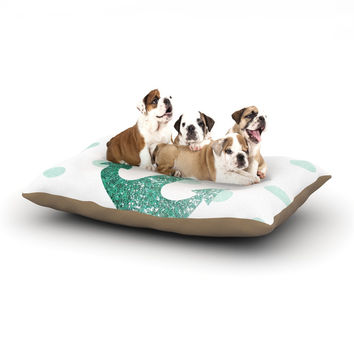 "Nika Martinez ""Glitter Anchor in Mint"" Teal Dog Bed"