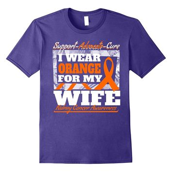 Mens I Wear Orange For My Wife Kidney Cancer Awareness T-shirt
