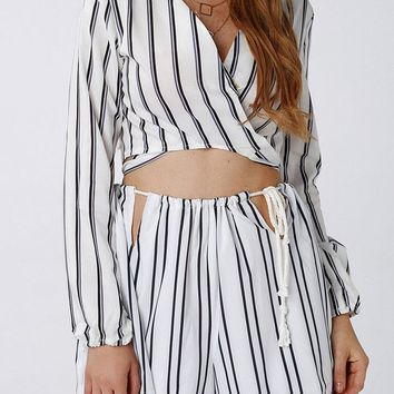 Sexy Stripe Bowknot V-neck Long Sleeve Women Crop Tops