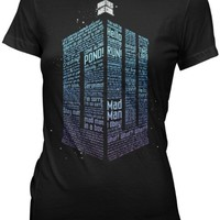 Doctor Who Logo of Words Junior's Black T-shirt M
