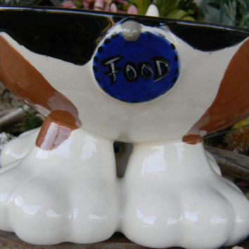 Dog Bowl with Paws and a little tail - beagle Hunting dog tri  colors - Great for fundraisers for rescues  Elevated Food Water Bowl