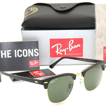 Ray-Ban Authentic Clubmaster RB 3016 901/58 Black Frame / Green Polarized Lens 49mm