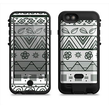 The Black & White Floral Aztec Pattern Apple iPhone 6/6s LifeProof Fre POWER Case Skin Set