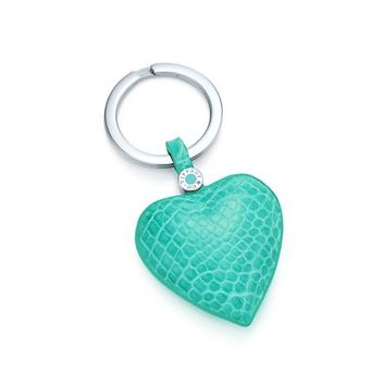 Tiffany & Co. -  Heart key ring in Tiffany Blue® crocodile. More colors available.