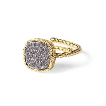 Princess Silver Druzy Cable Ring