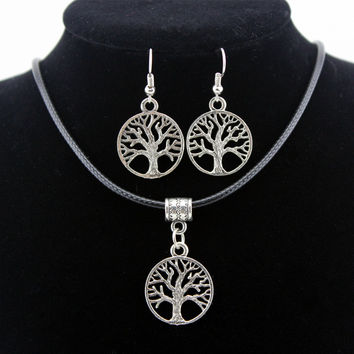 2016 Silver Tree Of Life Jewelry Sets Pendant Necklace & Earrings Totem Gift Wife Girlfriend Women Wedding Valentines Day Love