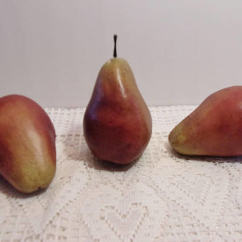 Artificial Red Pears Fake Fruit Country Kitchen Harvest Crafts Home Decor Thanksgiving Holiday Crafting