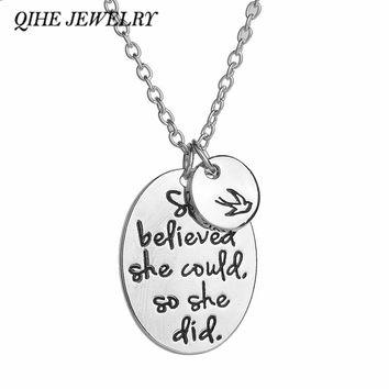 """QIHE JEWELRY Handstamped """"she believed she could so she did"""" Oval Round With A Bird Pendant Necklace Women Inspirational Jewelry"""
