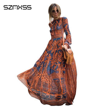 Summer Maxi Dress New Elegant Women Casual Long Dresses Long Sleeve Giraffe Printing Fashion Summer Party Dresses Vestidos