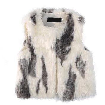 Girls Faux Fur Coat Vest Coat Soft Autumn Winter Baby Girl Jacket Kids Outwear Sleeveless Clothing Leopard 1-5T Drop Shipping