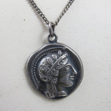 Antique Greek Coin Pendant Necklace Hallmarked XPYEAAEE Sterling Silver Alexander The Great