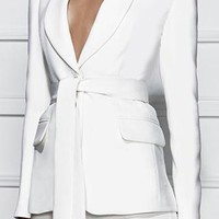 Point Taken White Long Sleeve Button V Neck Tie Belt Blazer Jacket - Back in Stock