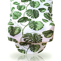 "Leap Day Unisex Multi-use Stretchy Baby Car Seat Canopy, Nursing Cover, High Chair/Shopping Cart Cover, Exclusive ""Tropical Green"" Palm Leaf Print (Set of 1)"