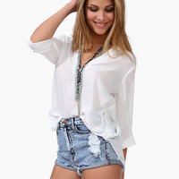 V-Neck Roll Up Sleeve Chiffon Blouse