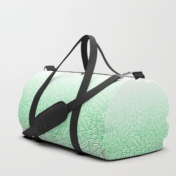 Gradient green and white swirls doodles Duffle Bag by Savousepate