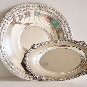Vintage Silver Plate Oblong Plate and Platter with an Intricate Floral Pattern - Elegant Serving Piece