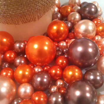 Fall Color Pearls Vase/Bowl Fillers (Light Coral, Orange, Cocoa Brown) 126pc Pearl Gems
