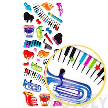 Cartoon Musical Instruments Keyboards and Treble Clefs Music Themed Puffy Stickers for Kids