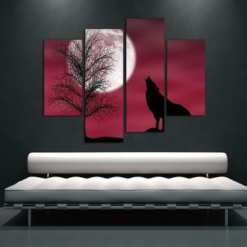 4 Pieces NO Framed Canvas Photo Prints Roaring Wolf Wall Art Picture Wonderful Canvas Paintings Wall Decorations Paintings Home