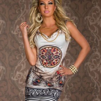 Sleeveless Printed V-neck Bodycon Mini Dress