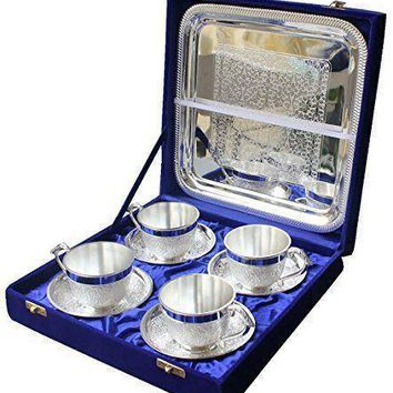 In Indea Silver Plated Artistic  Tea Cup Tray Set Of 4 Pc With Large Tray