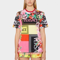 VERSACE  Women Letter Print Short Sleeve Top
