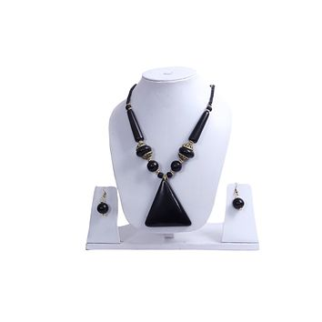 """Beach, Chunky, 13"""" Necklace Set with Black Wood , Amber Seeded Beads With Hoop Earrings"""