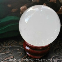 Natural Quartz Crystal Ball and Wooden Crystal Ball Stand for Divination and New Age, Metaphysical Spirituality