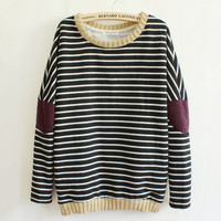 Leisure Retro Stripe Cloth Sleeve Women's Sweater from chiccasesandhomeproducts