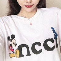 GUCCI x Disney Fashion Women Cute Mickey Mouse Print T-Shirt Top Blouse