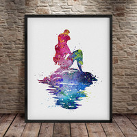 Ariel print, Princess Ariel, Watercolor Mermaid, Disney Poster, Disney Watercolor, Mermaid Ariel, Mermaid, Watercolor Kids art, Wall Art- a4