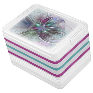 Colorful Fantasy, abstract and modern Fractal Art Drink Cooler