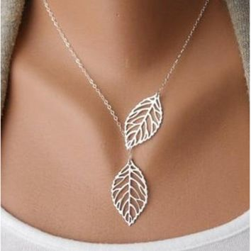 Falling Leaves Necklace.  Plated in White Gold with extra shimmer.