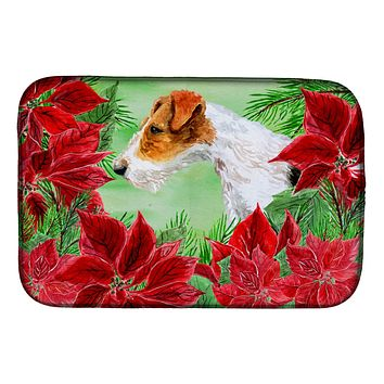 Fox Terrier Poinsettas Dish Drying Mat CK1298DDM