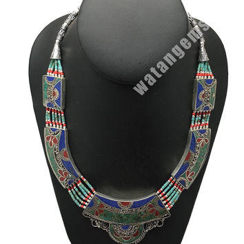 Ethnic Tribal Lapis, Turquoise & Red Coral Inlay Boho Statement Necklace, NPN63