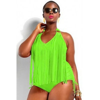 Plus Size Tassels Embellished Solid fluorescent Light Green One-piece Swimsuit  #W299
