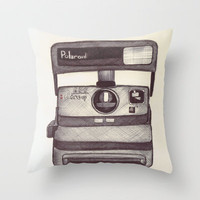 Ballpoint Palaroid Camera Throw Pillow by One Curious Chip | Society6