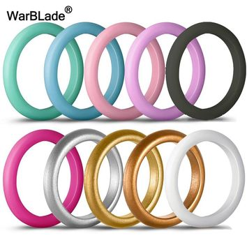 New 10pcs/set 3mm 4-8 Size Hypoallergenic Crossfit Flexible Sports Silicone Rings Food Grade FDA Silicone Finger Ring For Women