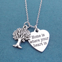 Home is where your heart is, Tree, Silver, Necklace, Family, Tree, Heart, Love, Necklace, Gift, Jewelry