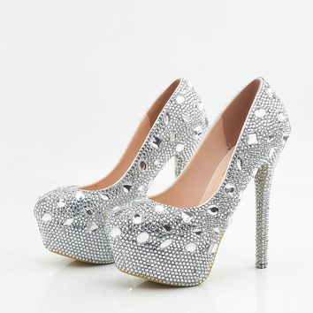 Crystal Rhinestones Round Toe Platform Super High Stiletto Heels Bridal Wedding Shoes