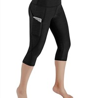 High Waist Out Pocket Yoga Capris Pants Tummy Control Workout Running 4 way Stretch Yoga Capris Leggings